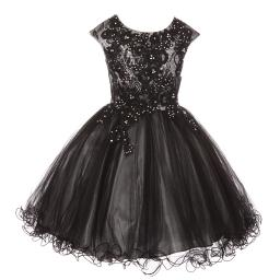 5f75ecd72 Little Girls Silver Black Rhinestone Embroidered Lace Flower Girl Dress 4-6