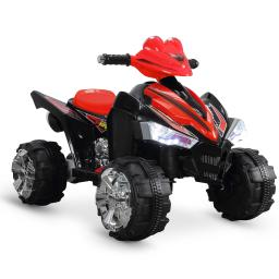 Kidzone Children's ATV Quad Ride On, Battery Charged Vehicle Car with Built-in Music Horn and LED Headlights, Red