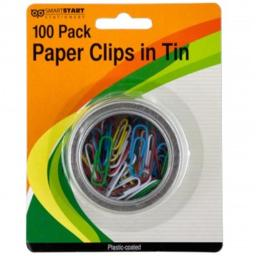 Bulk Buys GR131-96 Plastic Coated Paper Clips in Round Tin - 96 Piece