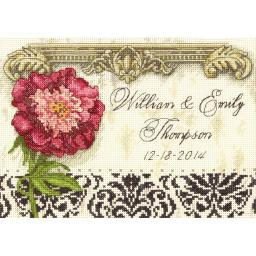 """Gold Petite Elegant Wedding Record Counted Cross Stitch Kit-7""""X5"""" 18 Count 70-65138"""