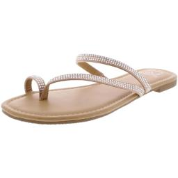 Material Girl Womens Eviee Open Toe Special Occasion T-Strap Sandals