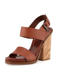 Vince Women's Haley Leather Two-Band Wooden Sandals