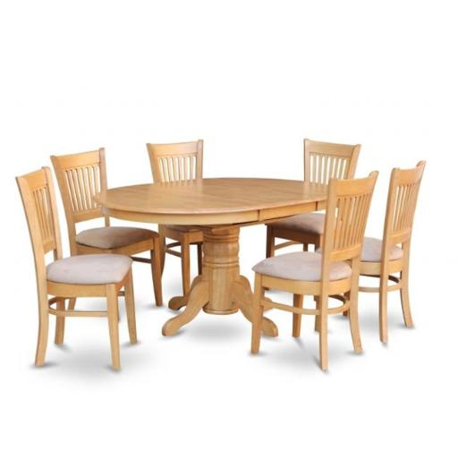 7 Piece Dining Set-Dining Table With Leaf and 6 Dinette Chairs