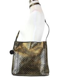 Bottega Veneta Unisex Intrecciomirage Gold / Black Leather Large Messenger Bag 298786 8414