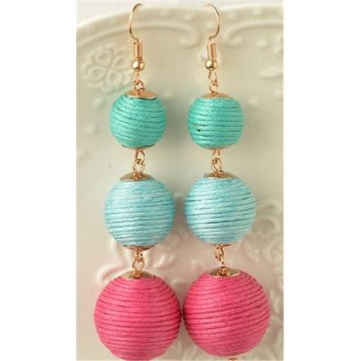 Youphoreah TBDE-307 -BP Celeb Inspired Hombre Threaded Ball Drop Earrings - Blue & Pink