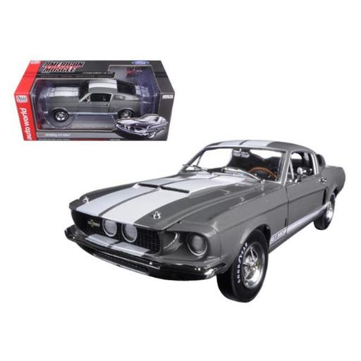 Autoworld AMM1060 1967 Ford Shelby Mustang GT-350 Medium Gray Metallic 50th Anniversary Limited Edition to 1002 Piece 1-18 Diecast Model Car