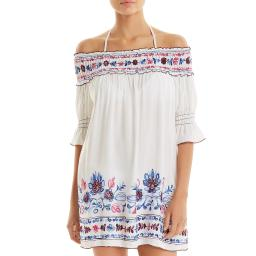 Becca Womens Marrakesh Embroidered Bell Sleeves Casual Dress