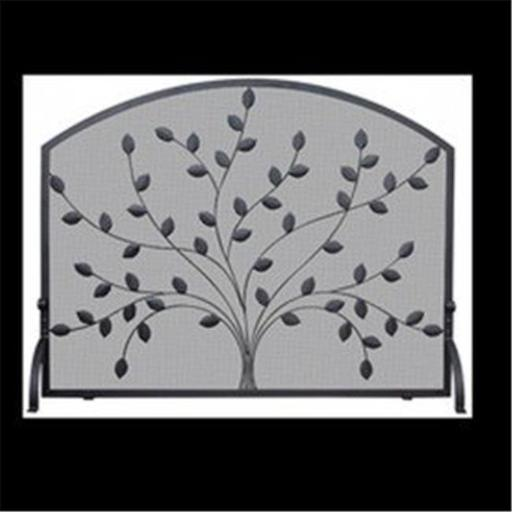 Uniflame S-1073 SINGLE PANEL BLACK WROUGHT IRON SCREEN WITH LEAVES