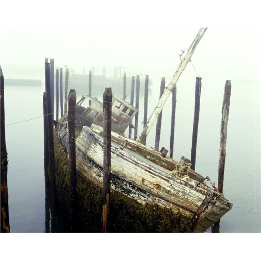 Posterazzi DPI1802677LARGE Old Fishing Boat No Longer in Use At Harbour Poster Print by David Chapman, 34 x 26 - Large