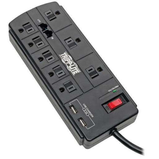 Tripp lite tlp88tusbb protect it! 8-outlet surge protector with 2 usb ports, 8ft cord (telephone/modem)