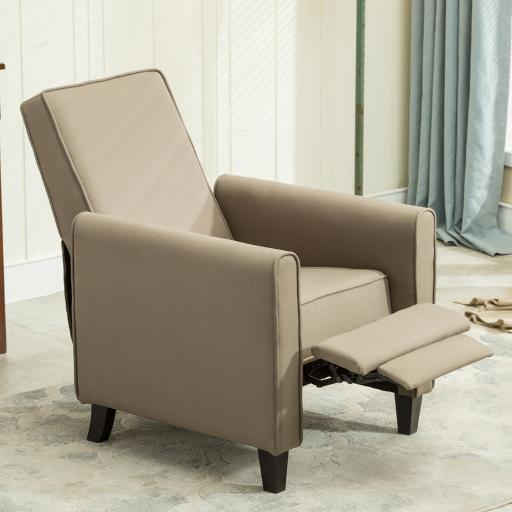 Belleze Modern Recliner Club Chair Accent Living Room Linen w/ Footrest, Taupe