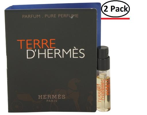 Terre D'Hermes by Hermes Vial (sample) Pure Perfume .05 oz for Men (Package of 2) Hermes Terre D'Hermes harkens to the scent of a natural man living in splendor. This elegant fragrance debuted on the market in 2006 and quickly defined itself as a leading industry standard. We are pleased to sell Hermes Terre d'Hermes products, including Terre d'Hermes cologne.