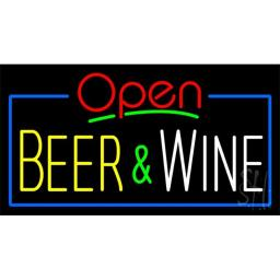 Sign Store N100-3384 Open Beer And Wine Neon Sign, 37 x 20 x 3 In.