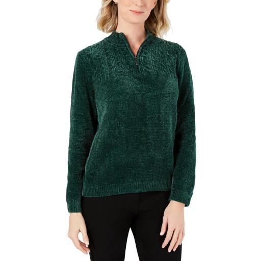 Alfred Dunner Womens Chenille 1/4 Zip Pullover Sweater