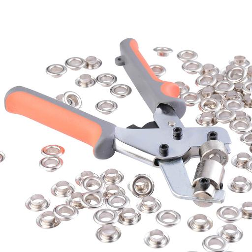 Yescom Portable Handheld Grommets Punching Machine Manual Puncher Press Tool w/ 500pcs 3/8