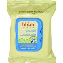Blum Naturals Daily Cleansing And Makeup Remover Towelettes For Normal Skin - 30 Towelettes - Case Of 3