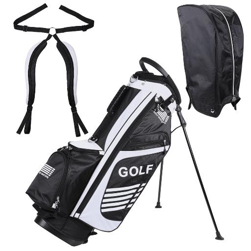 16x11x35' 600D Golf Stand Bag White Golf Carry Bag w/ 7 Pockets For Male Sport Golf Accessory