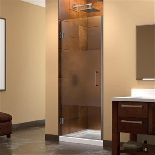 DreamLine SHDR-20267210F-HFR-04 DreamLine Unidoor 26 in. W x 72 in. H Hinged Shower Door, Half Frosted Glass Door, Brushed Nickel Finish Hardware