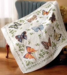 """Stamped Cross Stitch Lap Quilt 45""""X45"""" Butterfly Collection"""