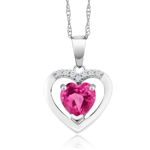 Gem Stone King 1.00 Ct Round Pink Mystic Topaz 14K White Gold Pendant With Chain