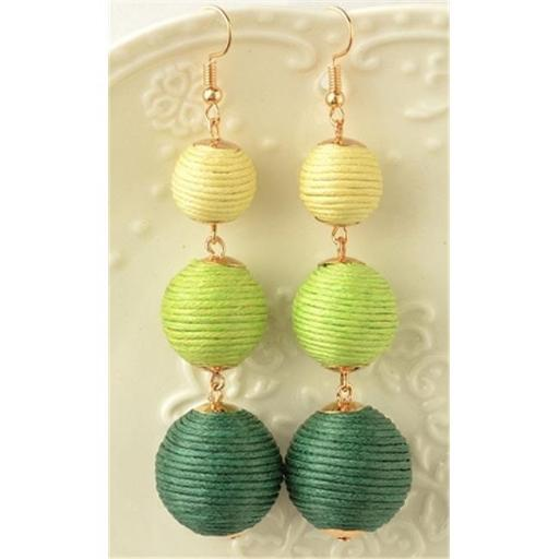Youphoreah TBDE-307 -G Celeb Inspired Hombre Threaded Ball Drop Earrings - Green