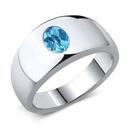 Gem Stone King 1.30 Ct Oval Checkerboard Swiss Blue VS Topaz 925 Sterling Silver Men's Ring