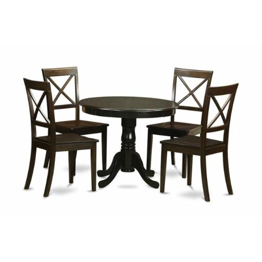 East West Furniture ANBO5-CAP-W 5 Piece Small Kitchen Table and Chairs Set-Round Kitchen Table and 4 Dining Chairs