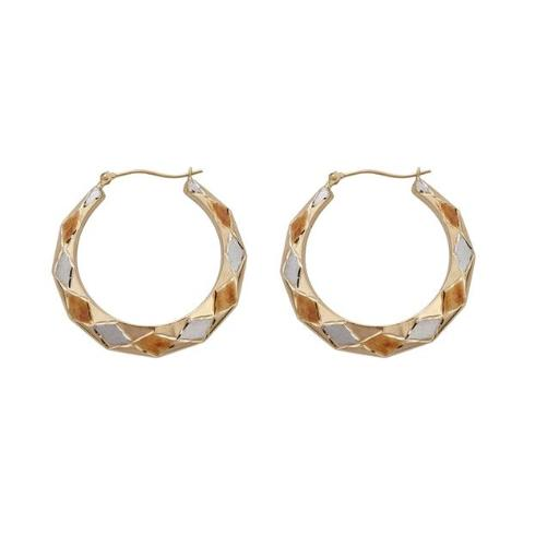YGI FME4297T 14K Tri-Color Gold Polished & Satin Fancy Diamond Shaped Hoop Earring