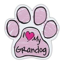 "Pink I Love My Grandog Scribble Paw Magnet Dog Cat 5.5"" x 5.5"" Shaped Pet Puppy"