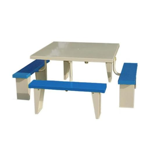Prairie View PIC4848-B 8 Seats Aluminum Square Picnic Table, Blue - 30 x 72 x 72 in.