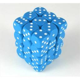 Chessex Manufacturing 25816 Opaque Light Blue With White - 12 mm Six Sided Dice Set Of 36