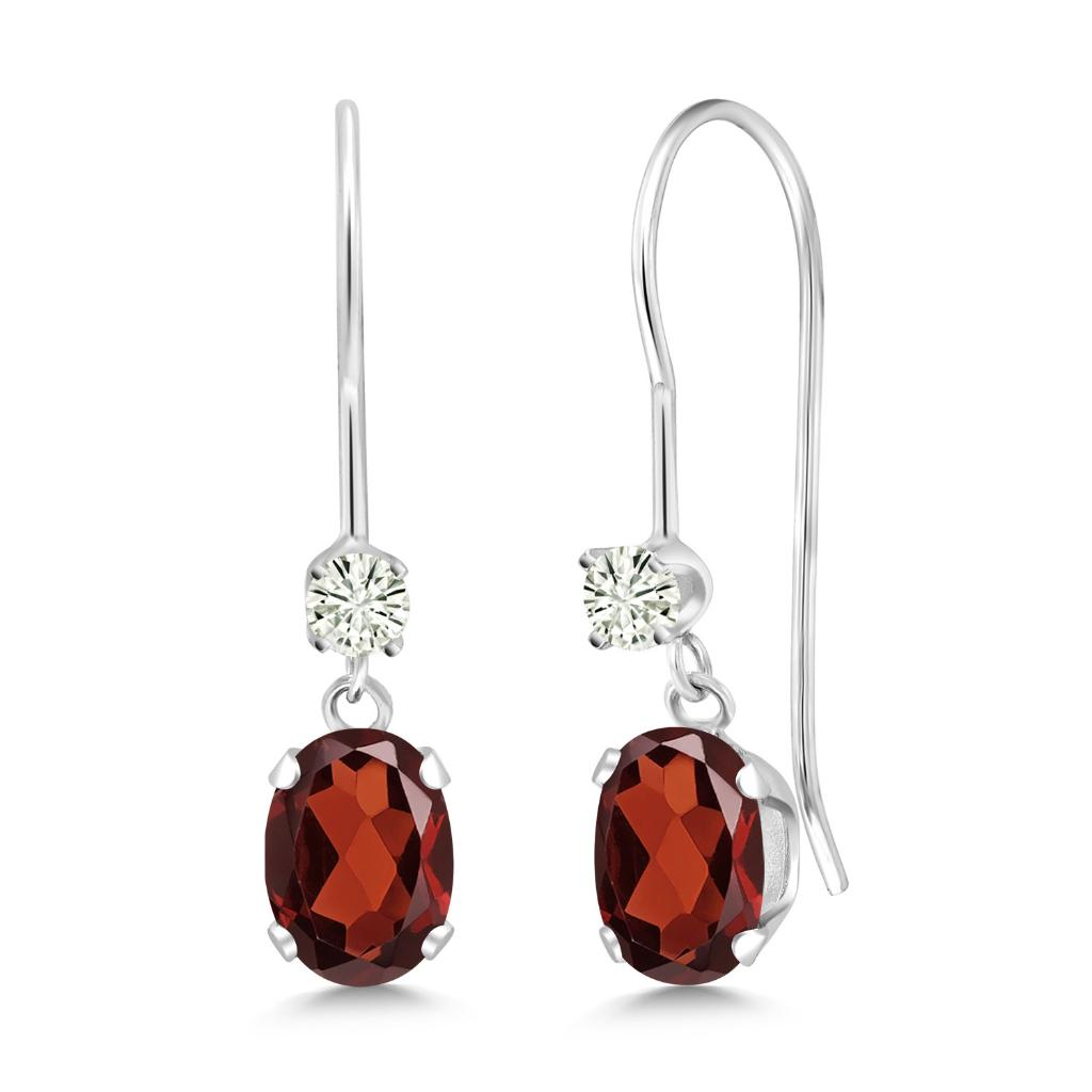 14K White Gold Dangle Earrings Oval Red Garnet and Forever Classic Created Moissanite 0.12ct (DEW) by Charles & Colvard