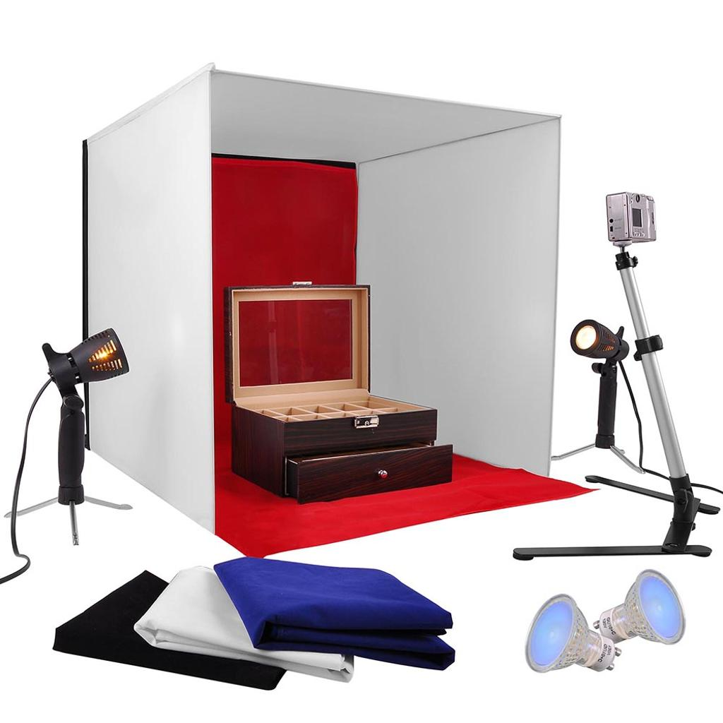 "Photo Studio 24"" Photography Light Tent 60cm Cube Lighting In A Box Kit w/ Backdrop Stand"
