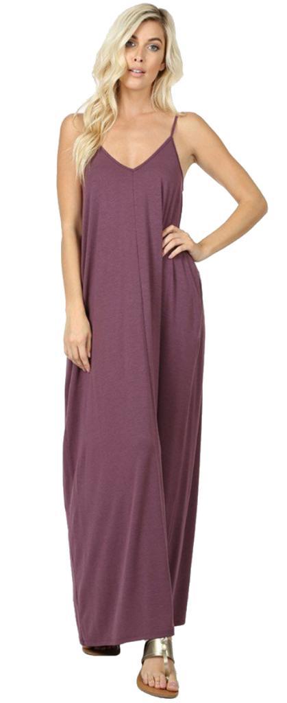 Women\'s Juniors/Plus Casual Long Dress Adjustable Straps Maxi Dress with  pockets
