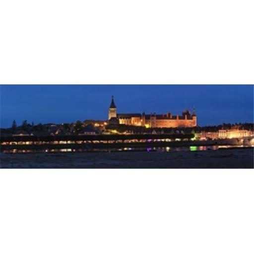 Castle and Loire bridge lit up at night Gien Loiret Loire Valley Centre Region France Poster Print by - 36 x 12