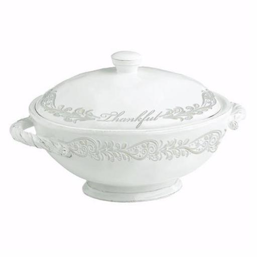Divinity Boutique 178191 Thankful Collection Soup Tureen Serving Bowl with Lid