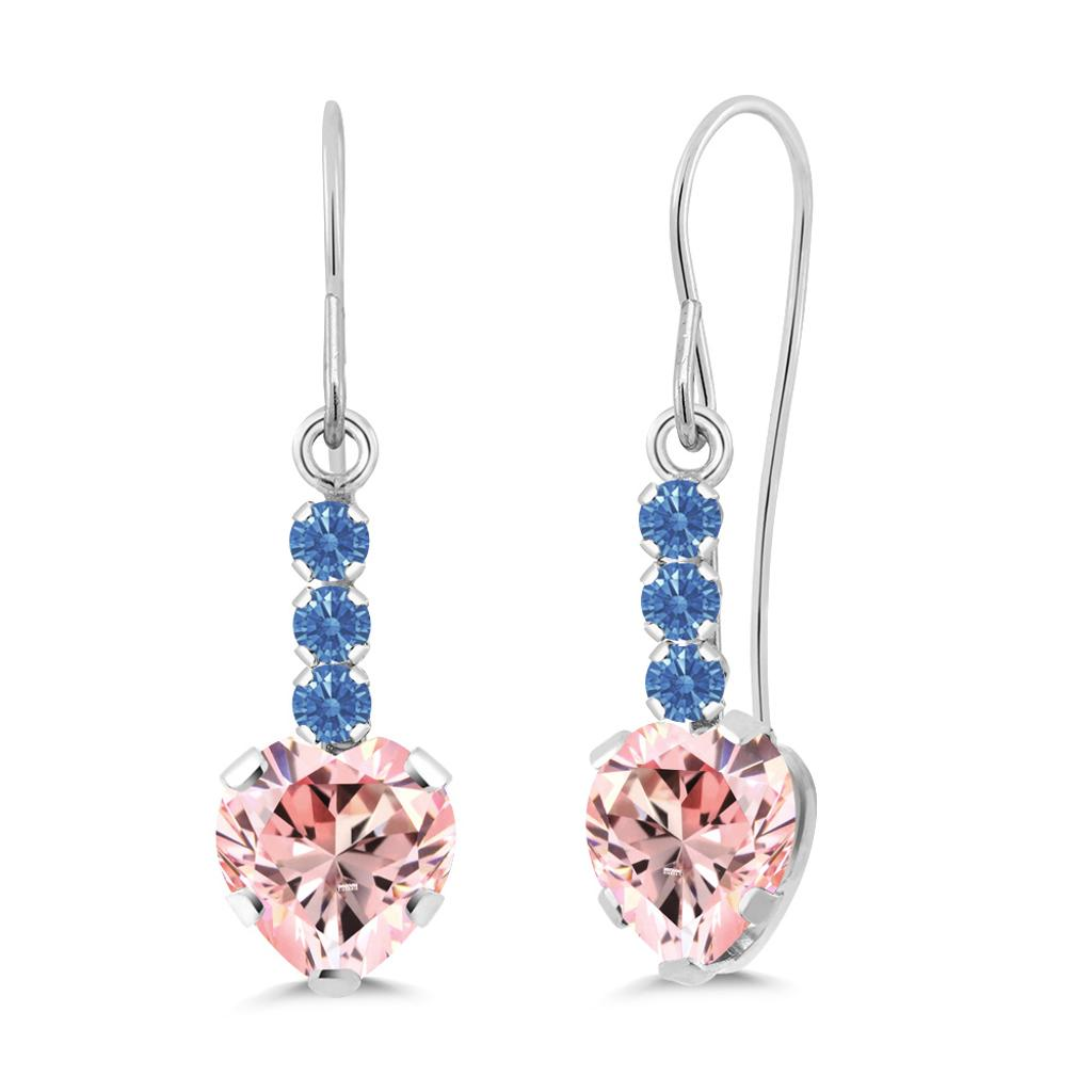 14K White Gold Dangle Earrings Set with Morganite Peach Zirconia from Swarovski