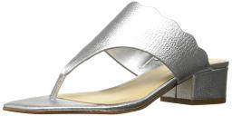 Marc Fisher Womens Veva Leather Split Toe Casual Slide Sandals
