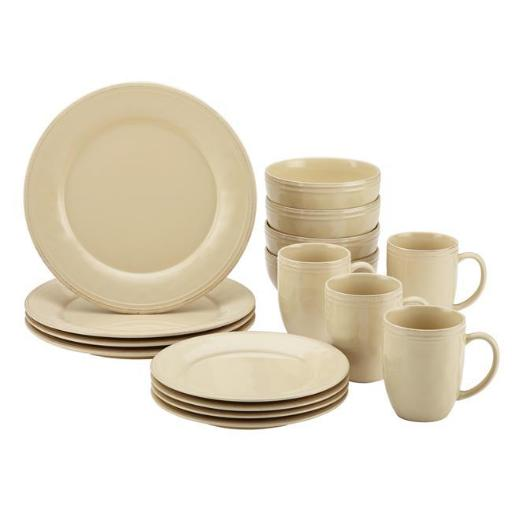 Rachael Ray 55094 Cucina Dinnerware 16-Piece Stoneware Dinnerware Set, Almond Cream