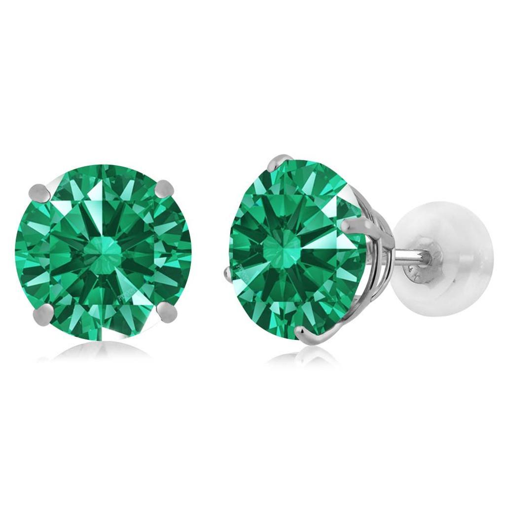 14K White Gold  Earrings Set with Round Green Zirconia from Swarovski
