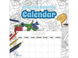 Adpcolor 6 creative coloring monthly calendar 12x12 28pg