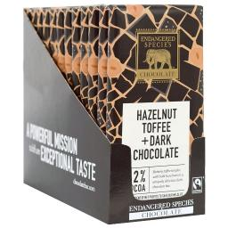 Endangered Species - Dark Chocolate Bars Box 72% Cocoa Hazelnut Toffee