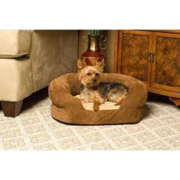 K&H Pet Products 4721 Brown Velvet K&H Pet Products Ortho Bolster Sleeper Pet Bed Large Brown Velvet 40 X 33 X 9.5 4721