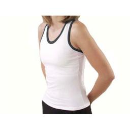 Pizzazz Performance Wear 9800T -WHTBLK-2XL 9800T Adult Racer Back Top with Trim - White with Black - 2XL