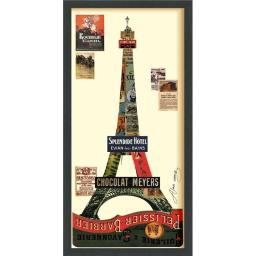 Empire Art Direct DAC-034-3317B Eiffel Tower - Dimensional Art Collage Hand Signed by Alex Zeng Framed Graphic Wall Art DAC-034-3317B