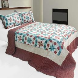 Falling?Snow 3PC Vermicelli-Quilted Printed Quilt Set (Full/Queen Size)