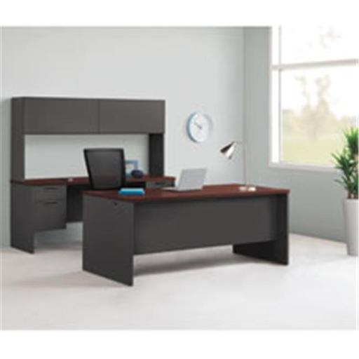 Lorell LLR97127 Mahogany & Charcoal Modular Desk Furniture