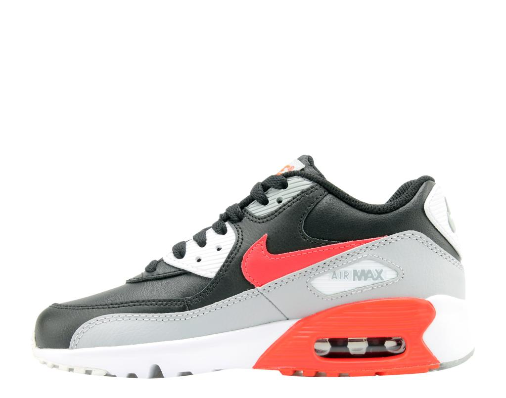 Nike Air Max 90 LTR (GS) GreyCrimson Black Big Kids Running Shoes 833412 024