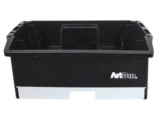 Atb6963ag artbin craft caddy black gray ArtBin containers are perfect for storing and organizing supplies Craft Caddy Black Gray- Carry your tools or craft supplies in this handy plastic caddy with a center carrying handle A sliding bin on the bottom opens to 12 fixed compartments of differen