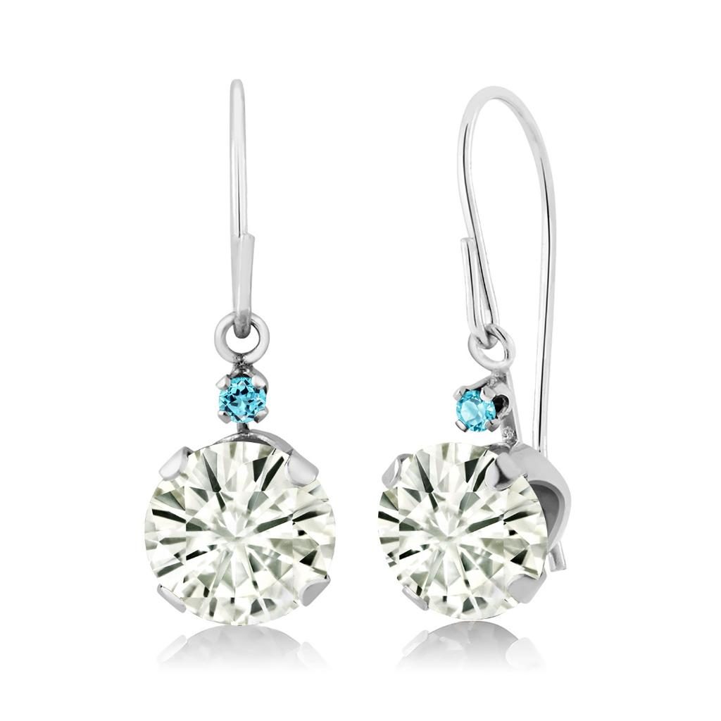 14K White Gold Dangle Earrings Forever Classic Round 1.60ct (DEW) Created Moissanite by Charles & Colvard and Simulated Topaz